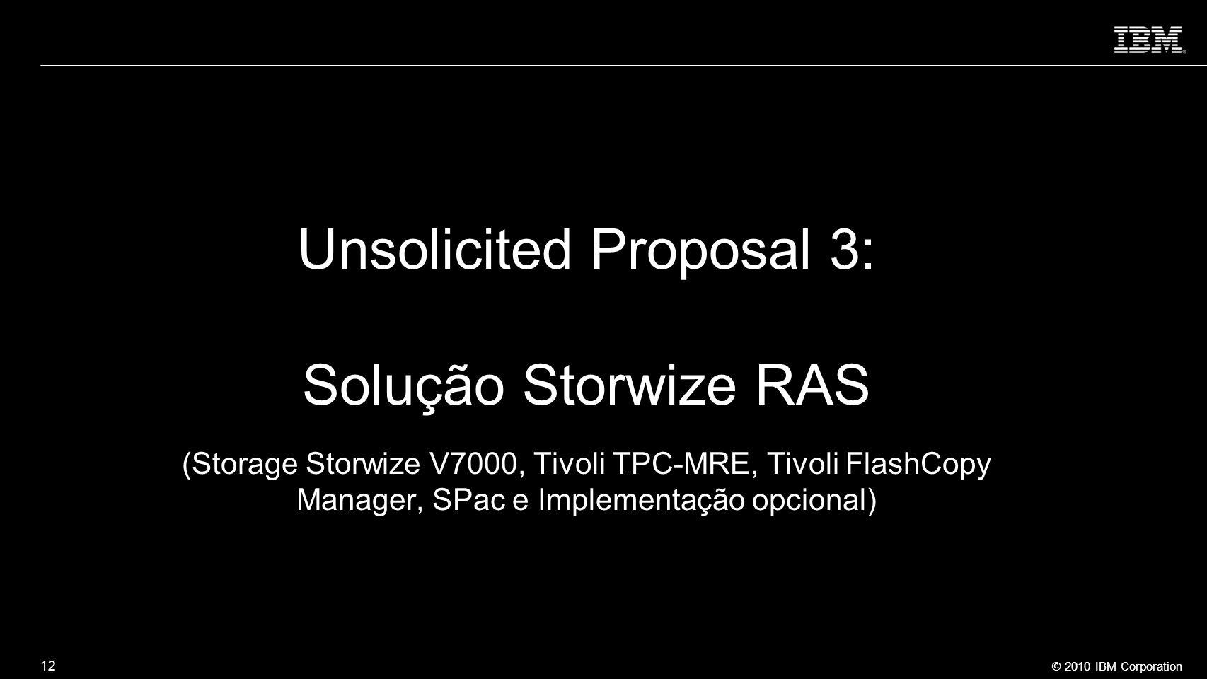 Unsolicited Proposal 3: Solução Storwize RAS (Storage Storwize V7000, Tivoli TPC-MRE, Tivoli FlashCopy Manager, SPac e Implementação opcional)