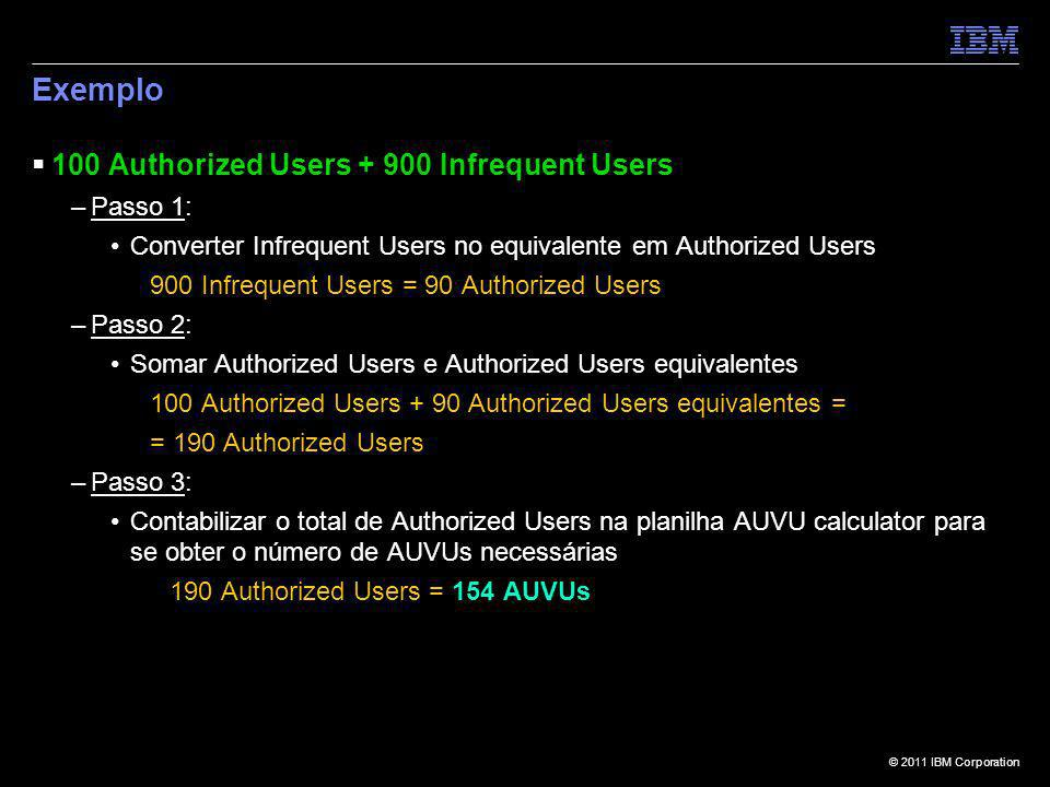 Exemplo 100 Authorized Users + 900 Infrequent Users Passo 1: