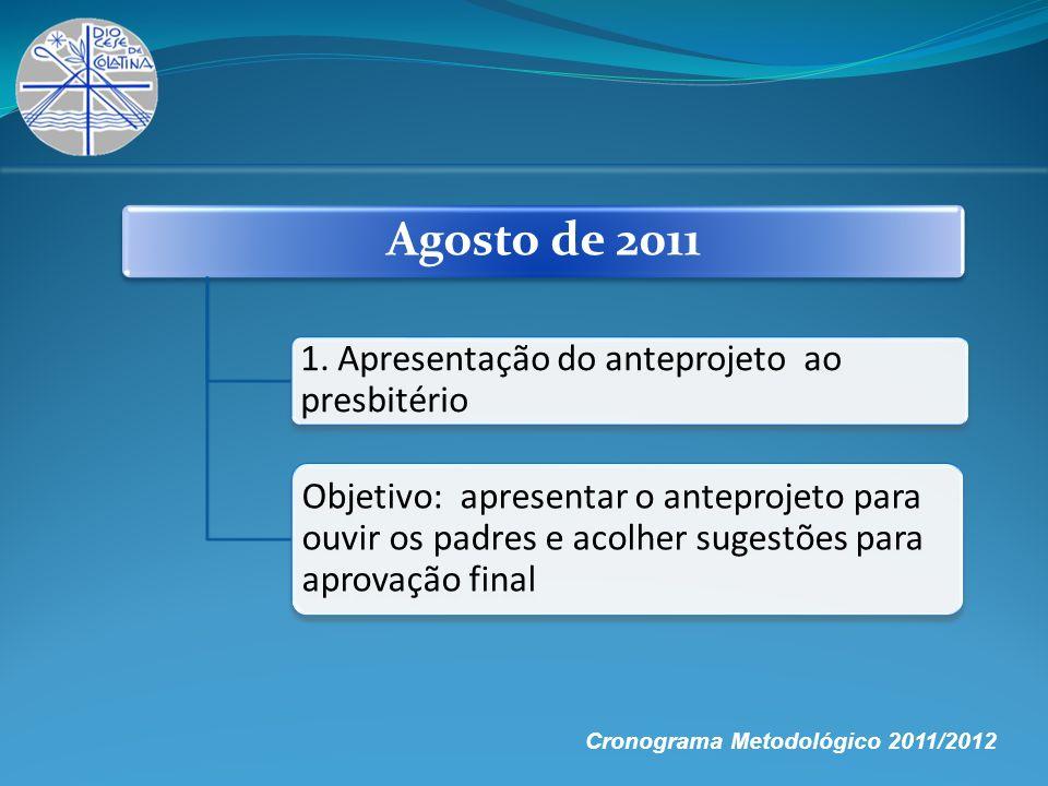 Agosto de 20111. Apresentação do anteprojeto ao presbitério.