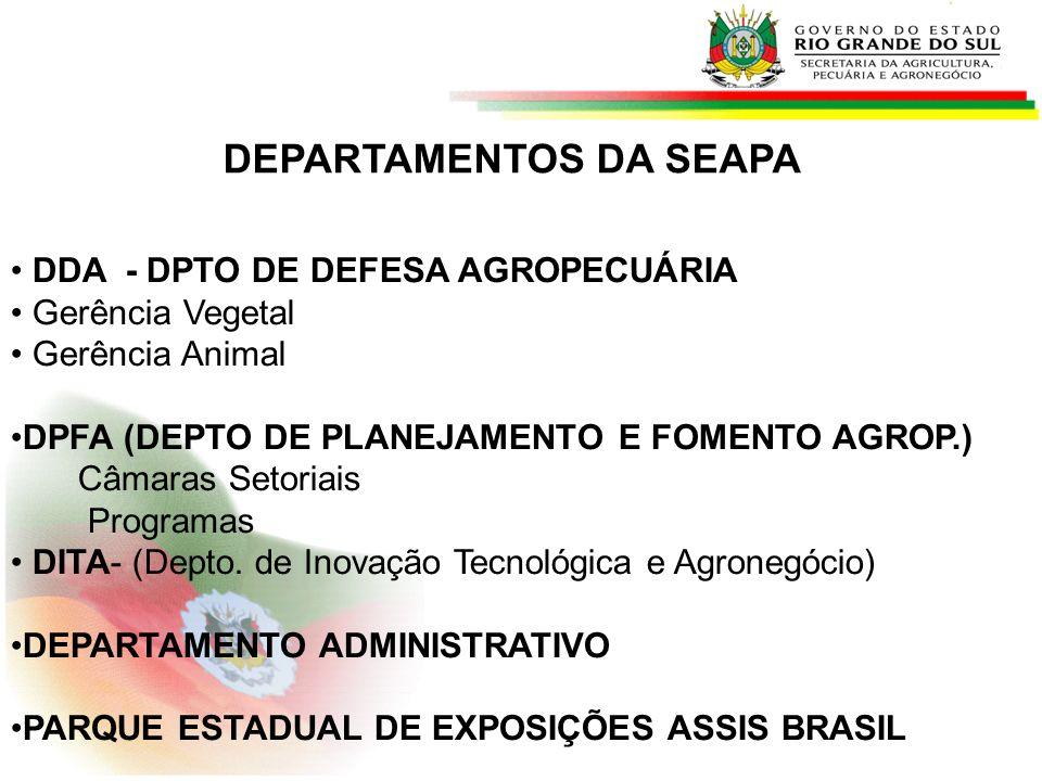 DEPARTAMENTOS DA SEAPA