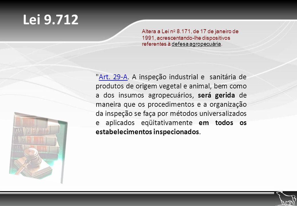 Lei 9.712 Altera a Lei no 8.171, de 17 de janeiro de 1991, acrescentando-lhe dispositivos referentes à defesa agropecuária.