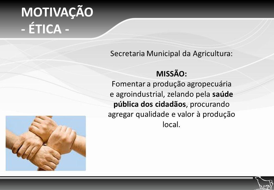 MOTIVAÇÃO - ÉTICA - Secretaria Municipal da Agricultura: MISSÃO: