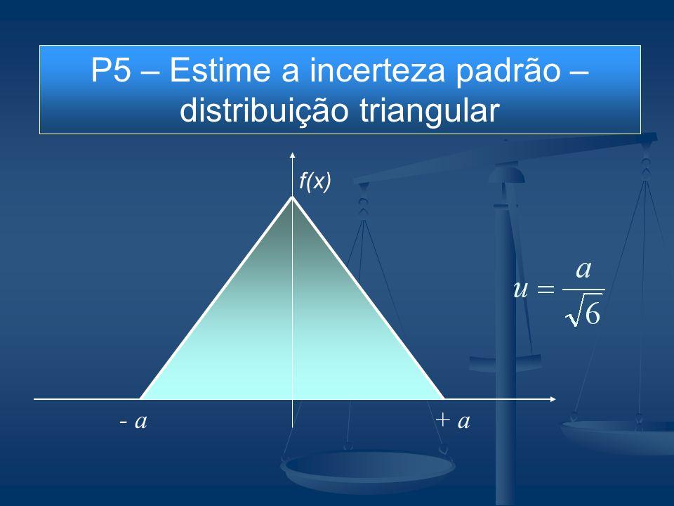 P5 – Estime a incerteza padrão – distribuição triangular