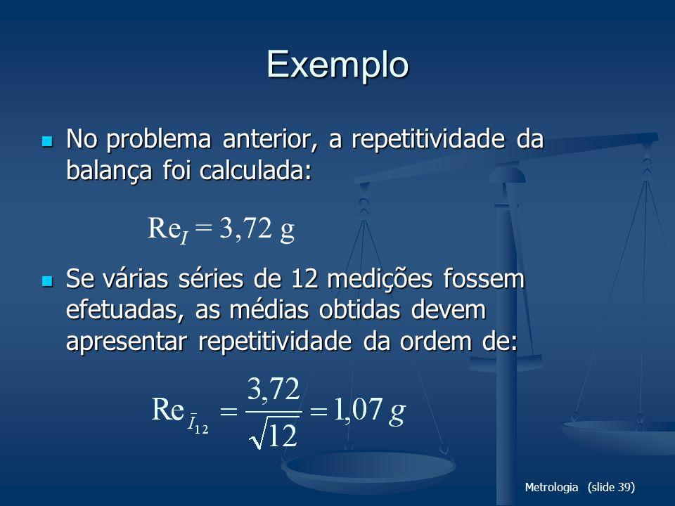 Exemplo No problema anterior, a repetitividade da balança foi calculada: