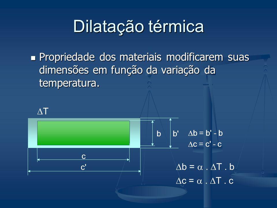 Dilatação térmica Propriedade dos materiais modificarem suas dimensões em função da variação da temperatura.