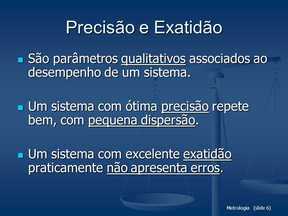 Precisão e Exatidão São parâmetros qualitativos associados ao desempenho de um sistema.