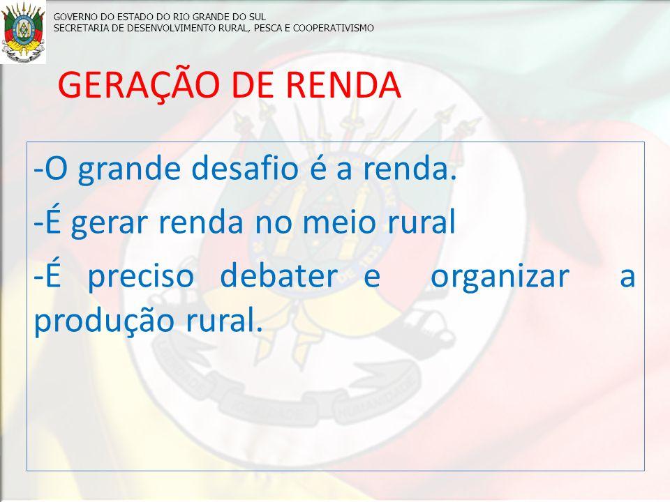 GERAÇÃO DE RENDA -O grande desafio é a renda.