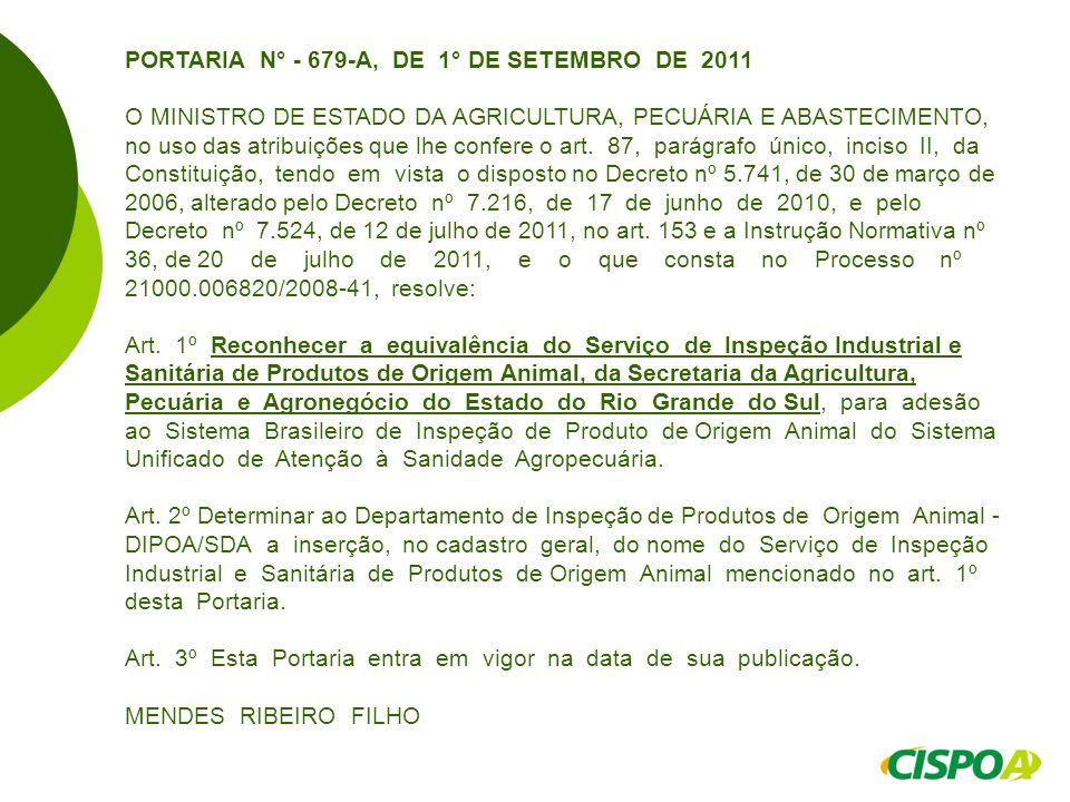PORTARIA N° - 679-A, DE 1° DE SETEMBRO DE 2011