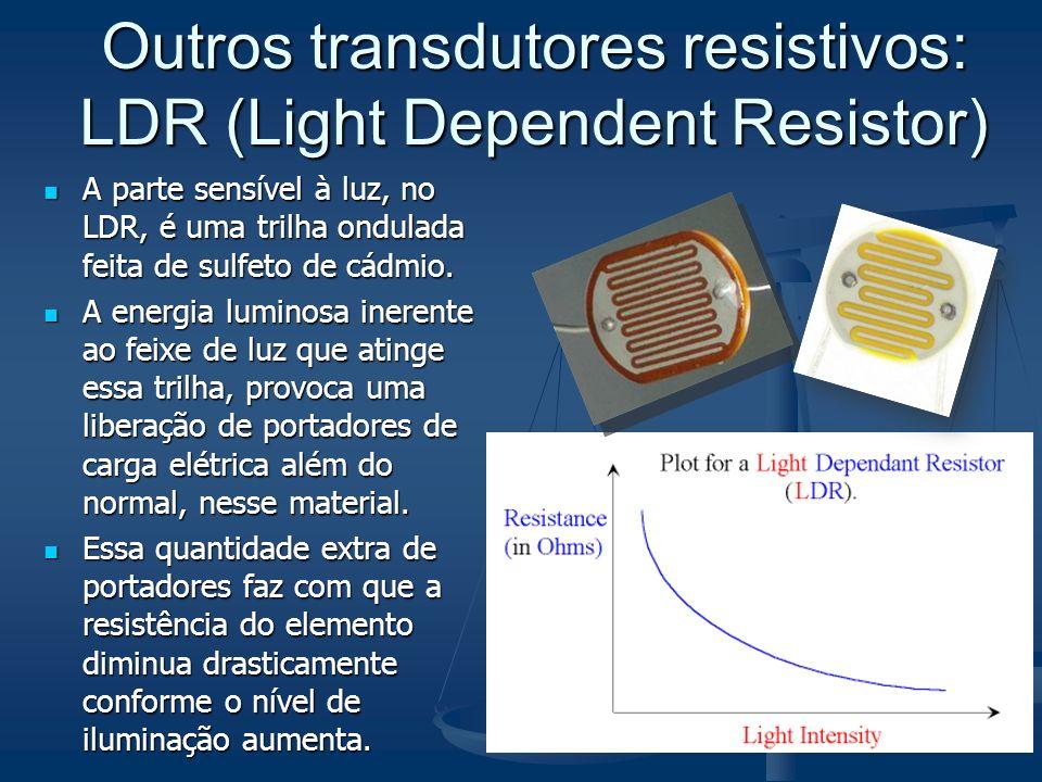Outros transdutores resistivos: LDR (Light Dependent Resistor)