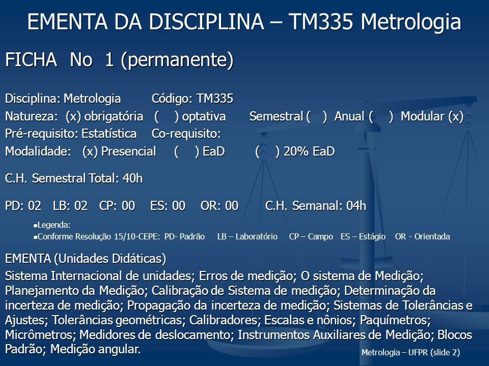 EMENTA DA DISCIPLINA – TM335 Metrologia