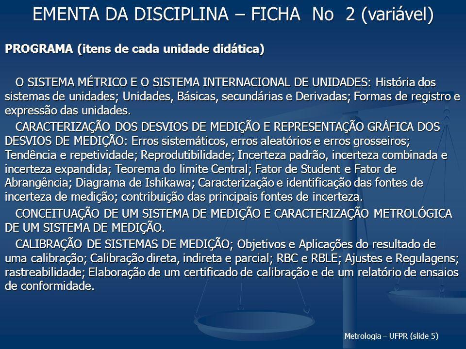 EMENTA DA DISCIPLINA – FICHA No 2 (variável)