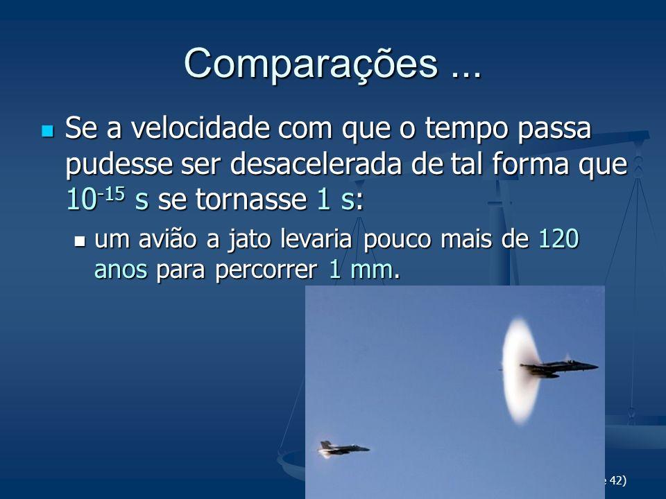 Comparações ... Se a velocidade com que o tempo passa pudesse ser desacelerada de tal forma que 10-15 s se tornasse 1 s: