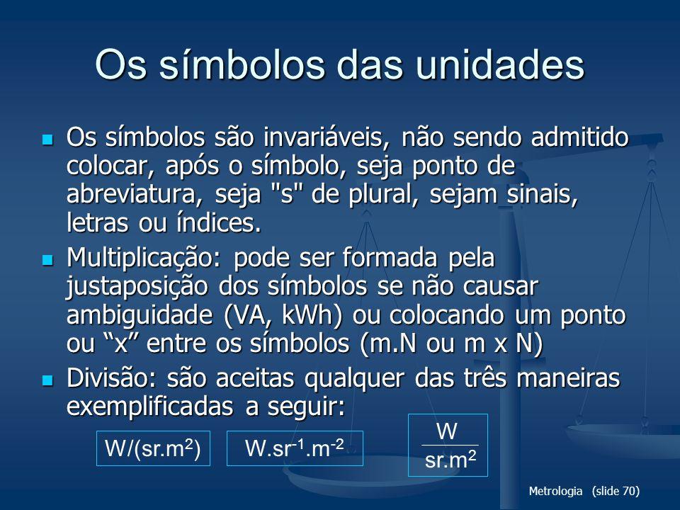 Os símbolos das unidades