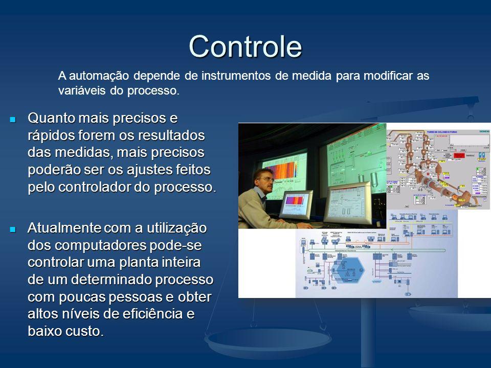 Controle A automação depende de instrumentos de medida para modificar as variáveis do processo.