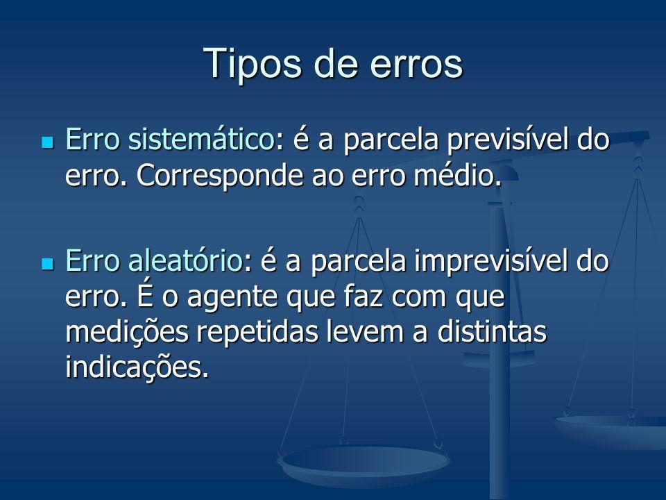 Tipos de errosErro sistemático: é a parcela previsível do erro. Corresponde ao erro médio.