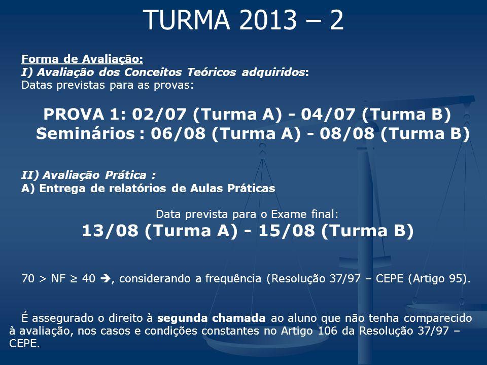 TURMA 2013 – 2 Seminários : 06/08 (Turma A) - 08/08 (Turma B)