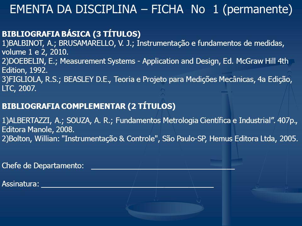 EMENTA DA DISCIPLINA – FICHA No 1 (permanente)