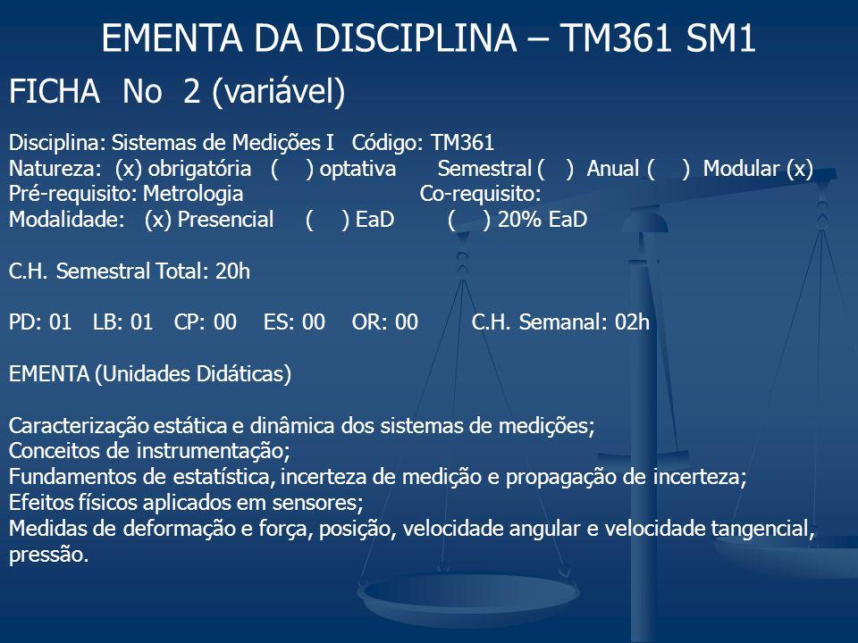 EMENTA DA DISCIPLINA – TM361 SM1