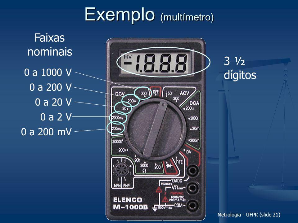 Exemplo (multímetro) Faixas nominais 3 ½ dígitos 0 a 1000 V 0 a 200 V