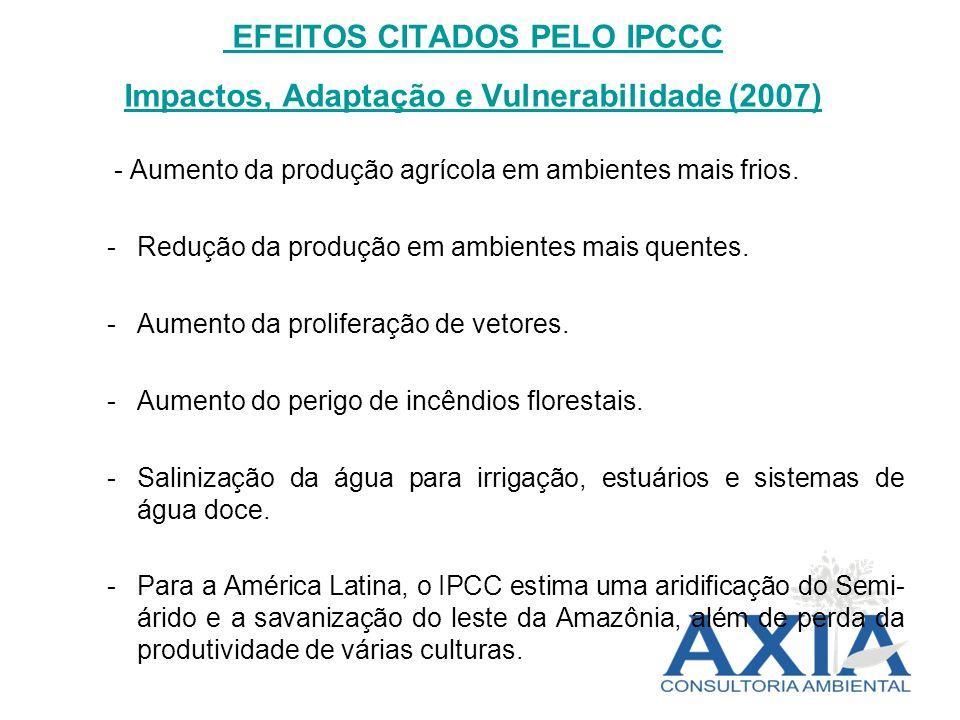 EFEITOS CITADOS PELO IPCCC Impactos, Adaptação e Vulnerabilidade (2007)