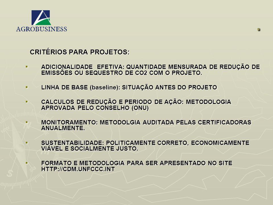 . CRITÉRIOS PARA PROJETOS: