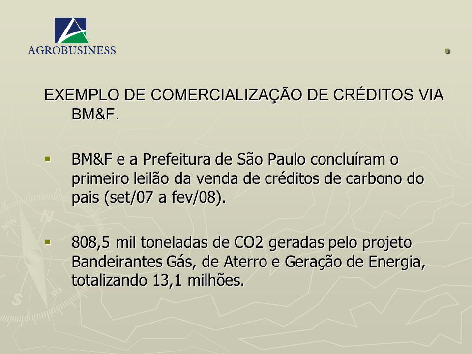 . EXEMPLO DE COMERCIALIZAÇÃO DE CRÉDITOS VIA BM&F.