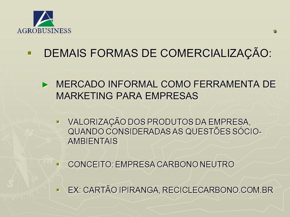 . DEMAIS FORMAS DE COMERCIALIZAÇÃO:
