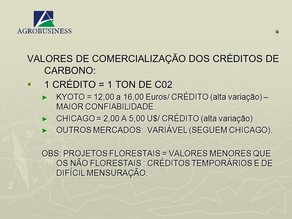 . VALORES DE COMERCIALIZAÇÃO DOS CRÉDITOS DE CARBONO: