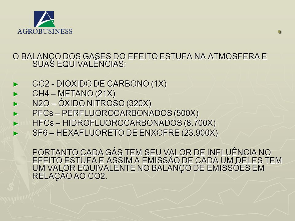 . O BALANÇO DOS GASES DO EFEITO ESTUFA NA ATMOSFERA E SUAS EQUIVALÊNCIAS: CO2 - DIOXIDO DE CARBONO (1X)