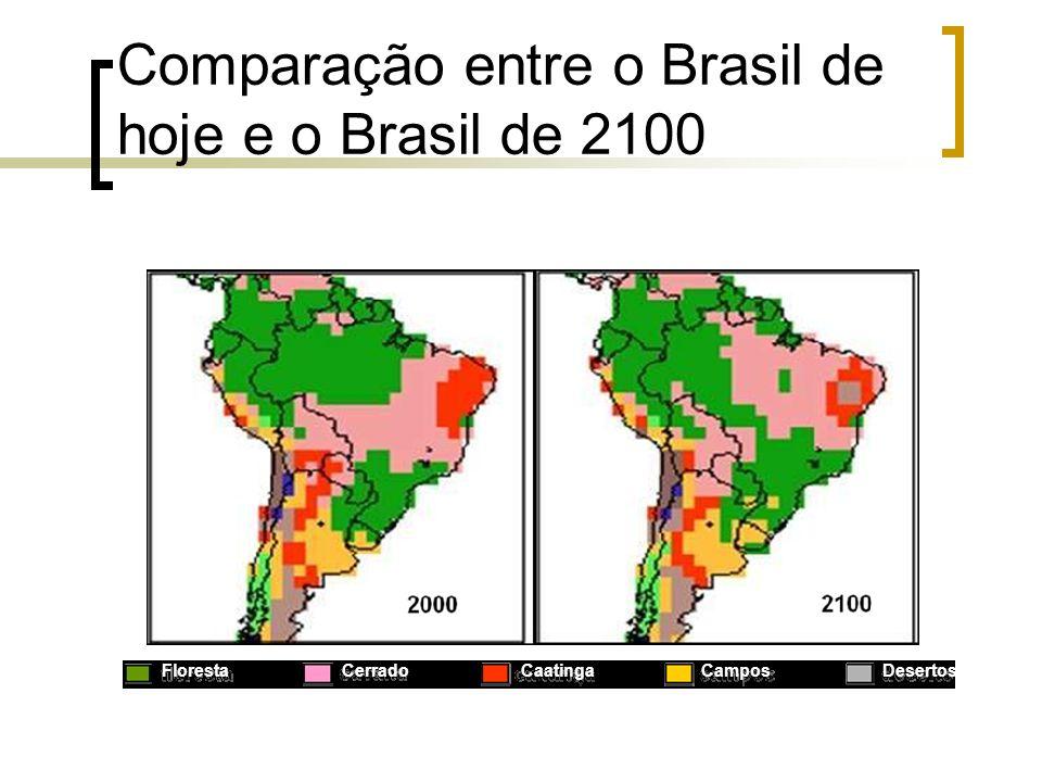 Comparação entre o Brasil de hoje e o Brasil de 2100