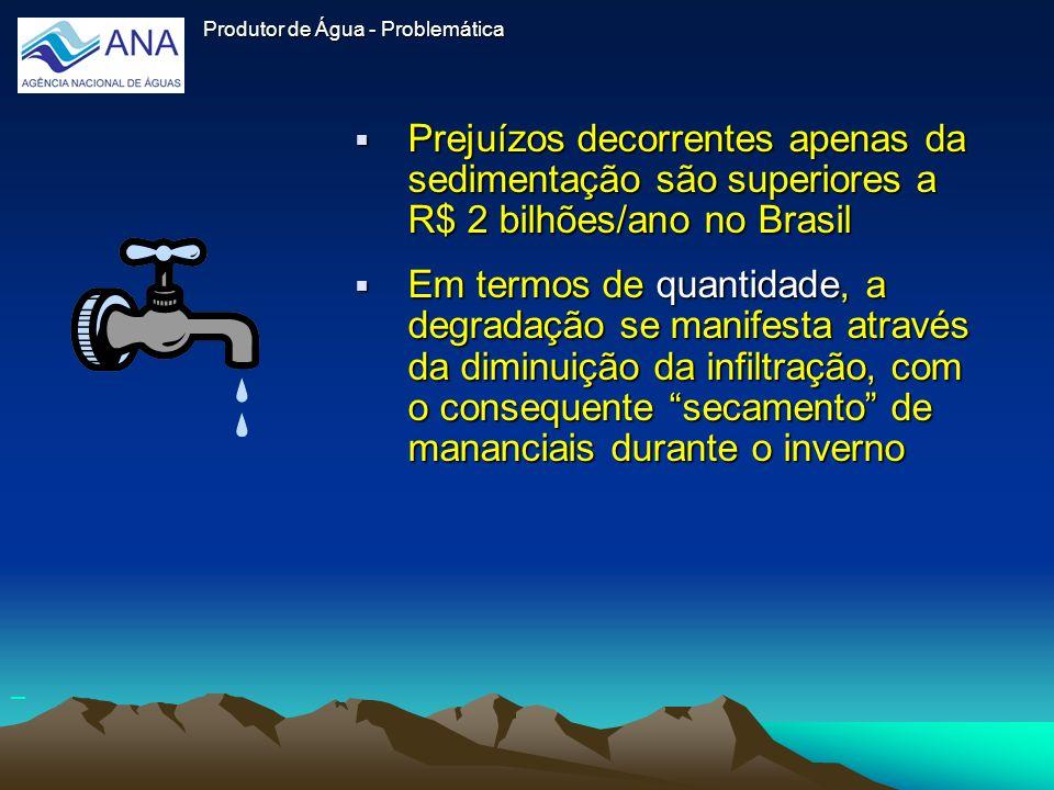 Produtor de ÁguaProdutor de Água - Problemática. Prejuízos decorrentes apenas da sedimentação são superiores a R$ 2 bilhões/ano no Brasil.