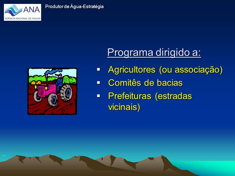 Programa dirigido a: Agricultores (ou associação) Comitês de bacias