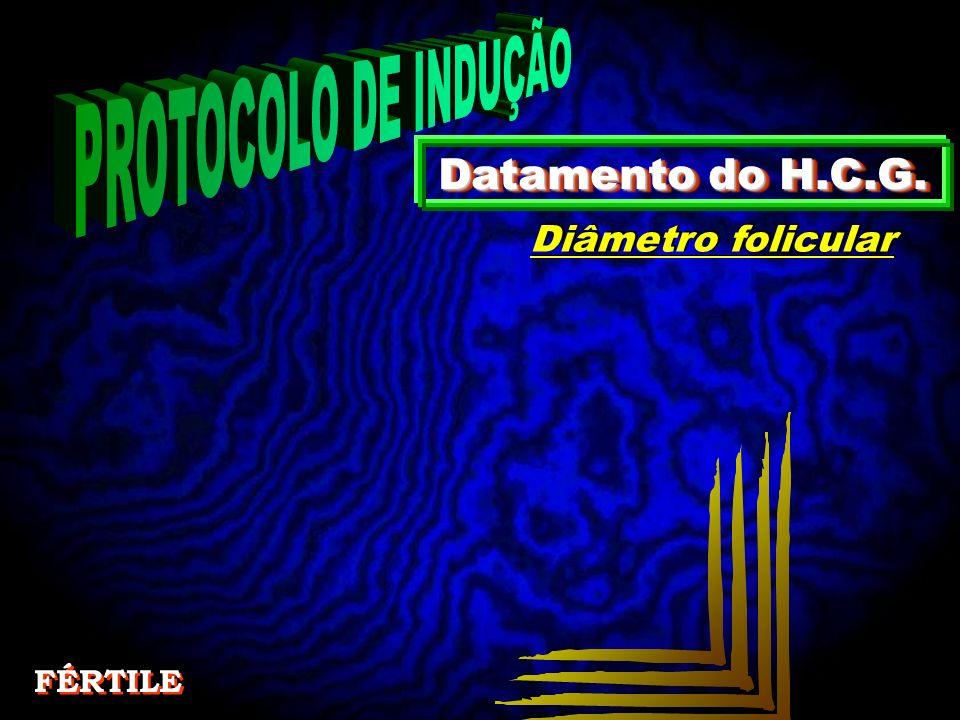 PROTOCOLO DE INDUÇÃO Datamento do H.C.G. Diâmetro folicular FÉRTILE