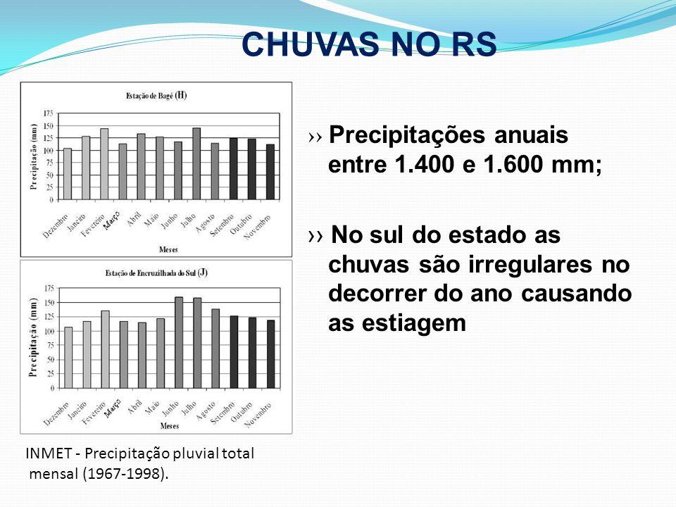 CHUVAS NO RS ›› Precipitações anuais entre 1.400 e 1.600 mm;