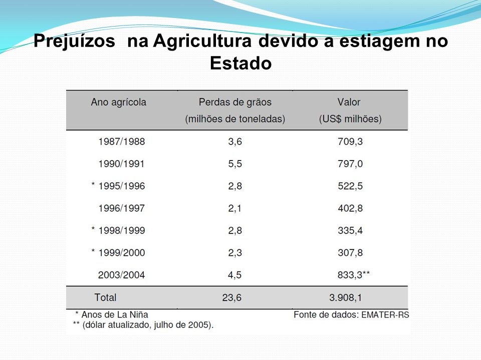 Prejuízos na Agricultura devido a estiagem no Estado