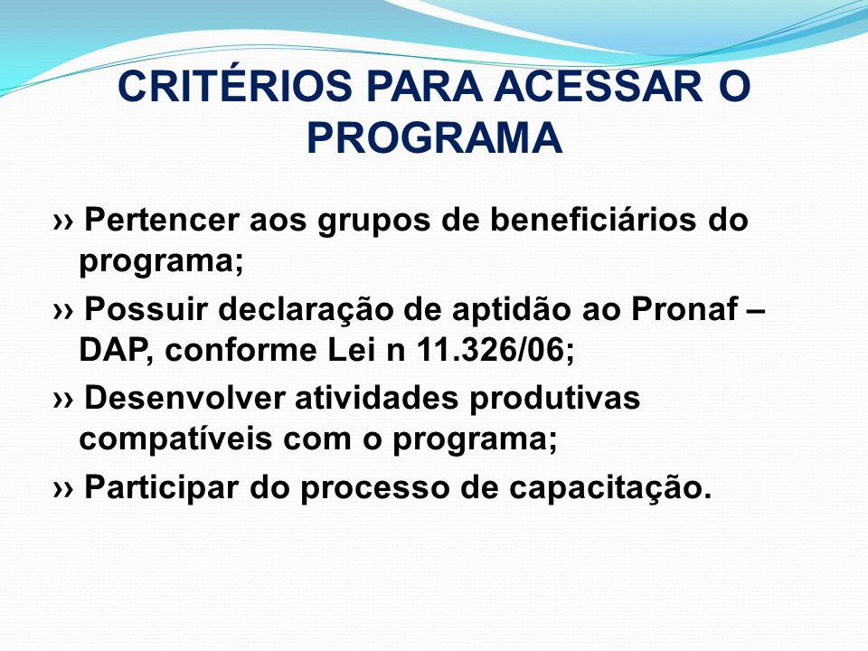 CRITÉRIOS PARA ACESSAR O PROGRAMA