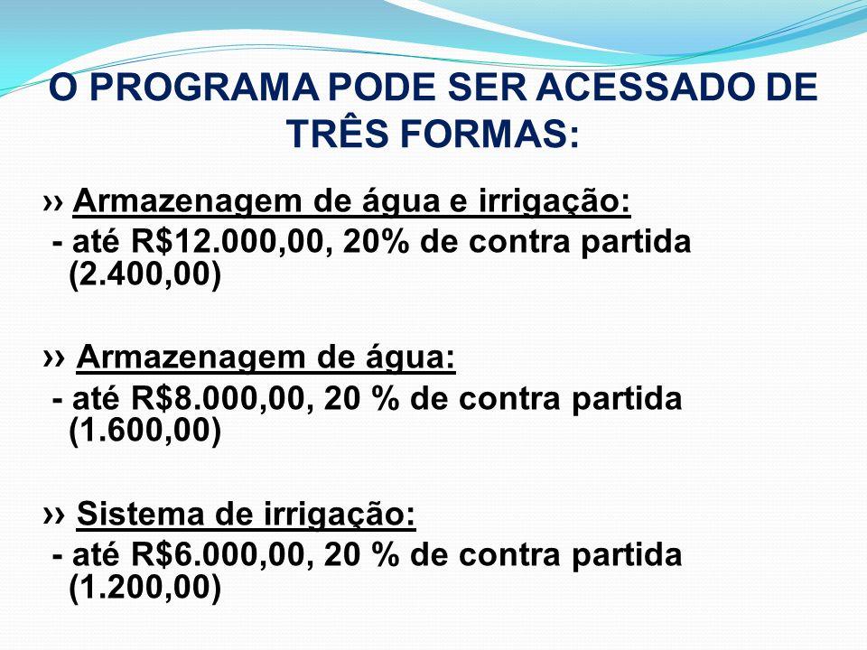 O PROGRAMA PODE SER ACESSADO DE TRÊS FORMAS: