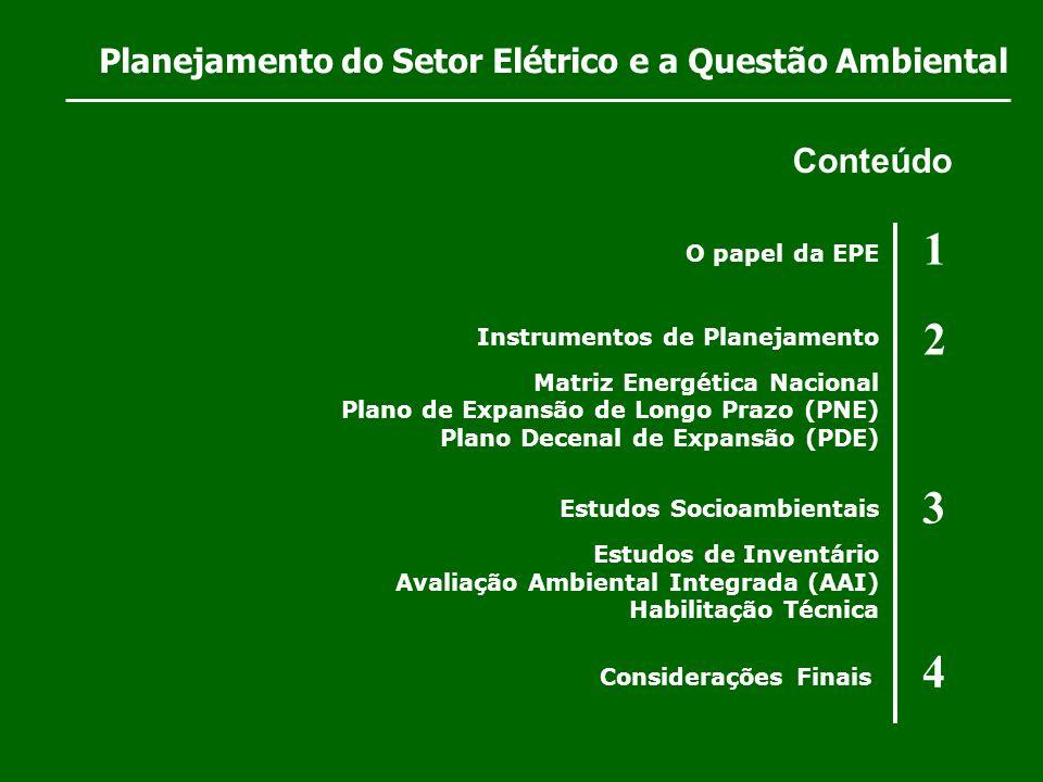 1 2 3 4 Conteúdo Planejamento do Setor Elétrico e a Questão Ambiental