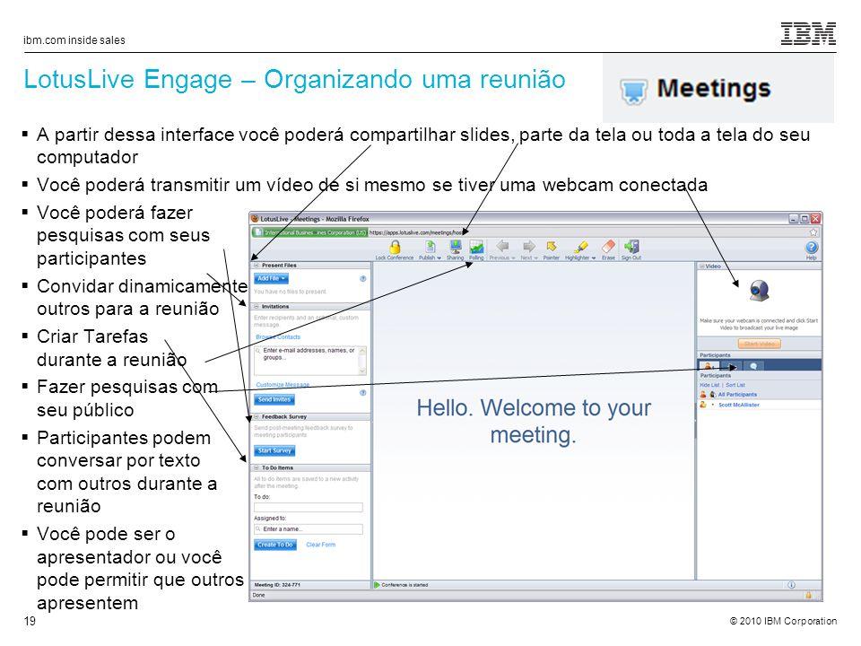 LotusLive Engage – Organizando uma reunião