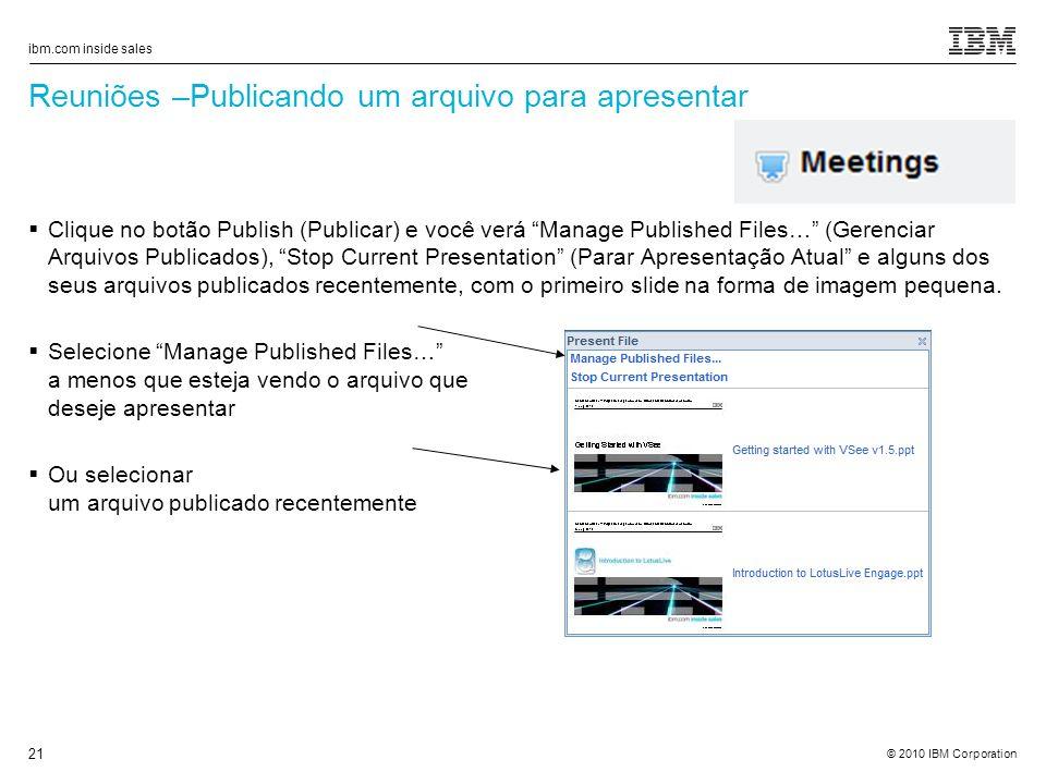 Reuniões –Publicando um arquivo para apresentar