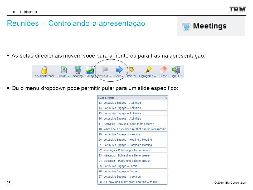 Reuniões – Controlando a apresentação