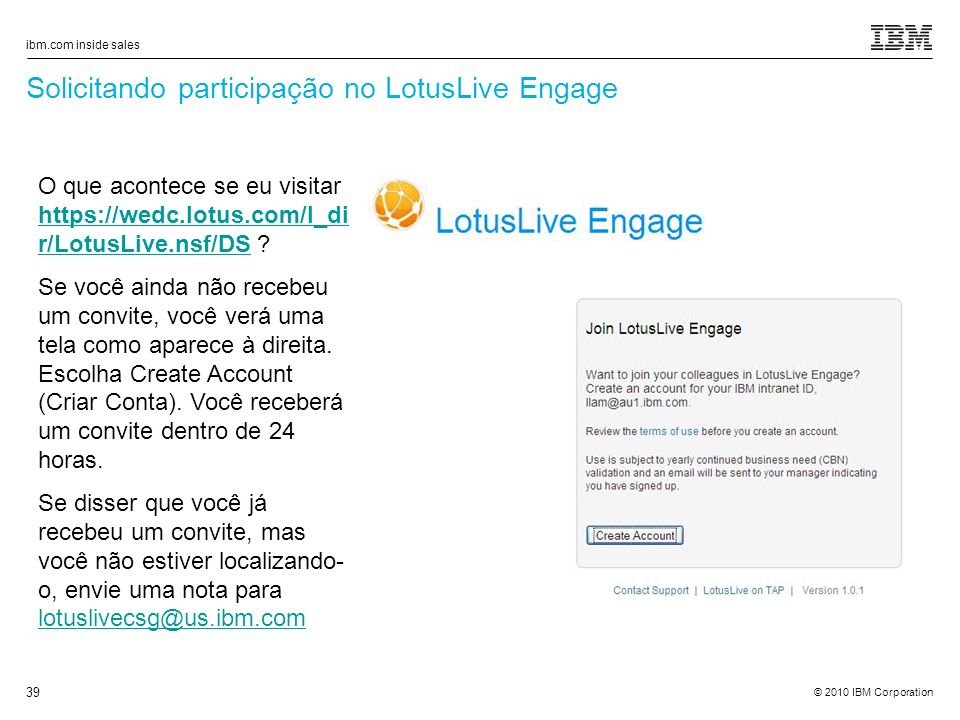 Solicitando participação no LotusLive Engage