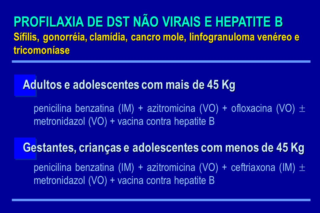 PROFILAXIA DE DST NÃO VIRAIS E HEPATITE B Sífilis, gonorréia, clamídia, cancro mole, linfogranuloma venéreo e tricomoníase