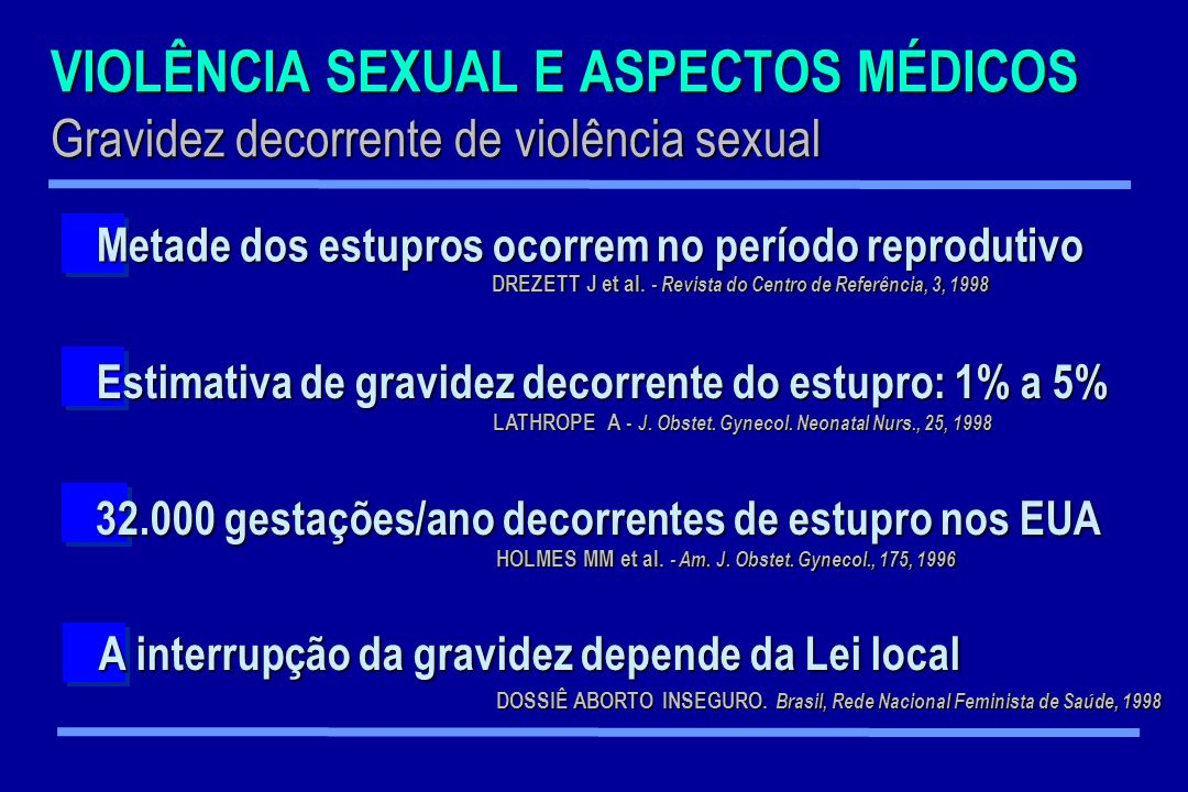 VIOLÊNCIA SEXUAL E ASPECTOS MÉDICOS Gravidez decorrente de violência sexual