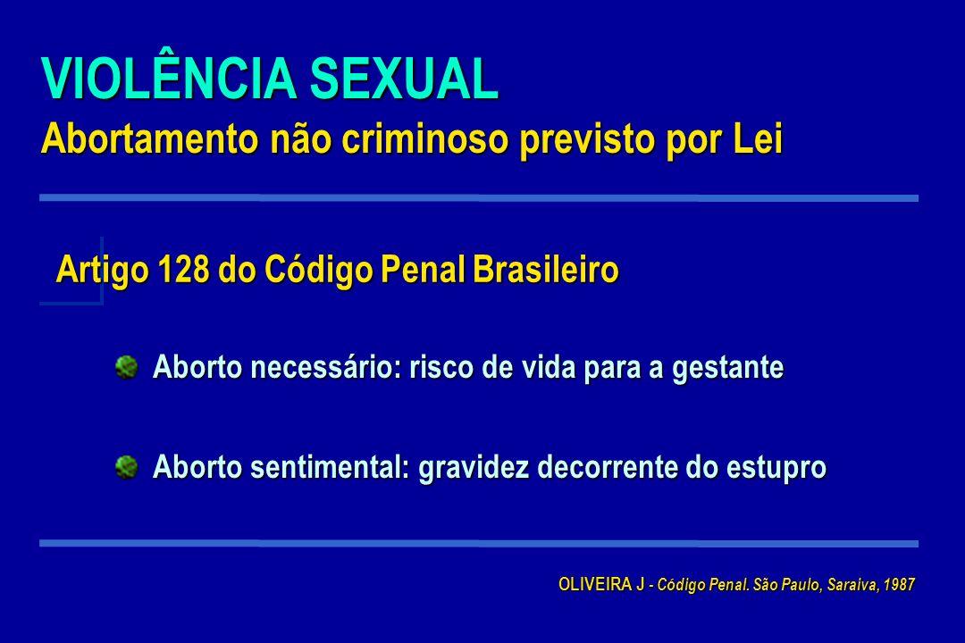 VIOLÊNCIA SEXUAL Abortamento não criminoso previsto por Lei