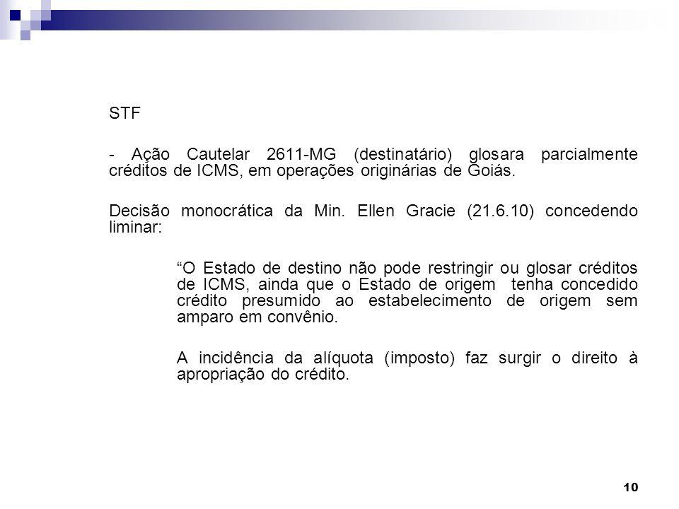 STF - Ação Cautelar 2611-MG (destinatário) glosara parcialmente créditos de ICMS, em operações originárias de Goiás.