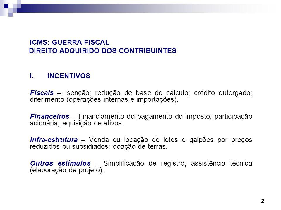 ICMS: GUERRA FISCAL DIREITO ADQUIRIDO DOS CONTRIBUINTES I. INCENTIVOS