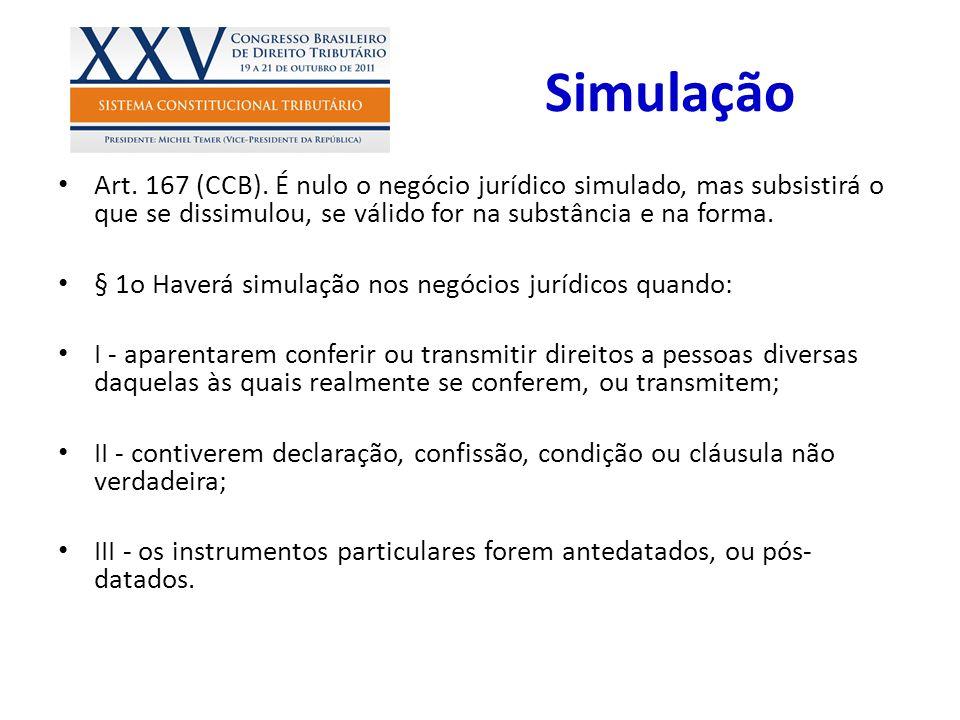 Simulação Art. 167 (CCB). É nulo o negócio jurídico simulado, mas subsistirá o que se dissimulou, se válido for na substância e na forma.