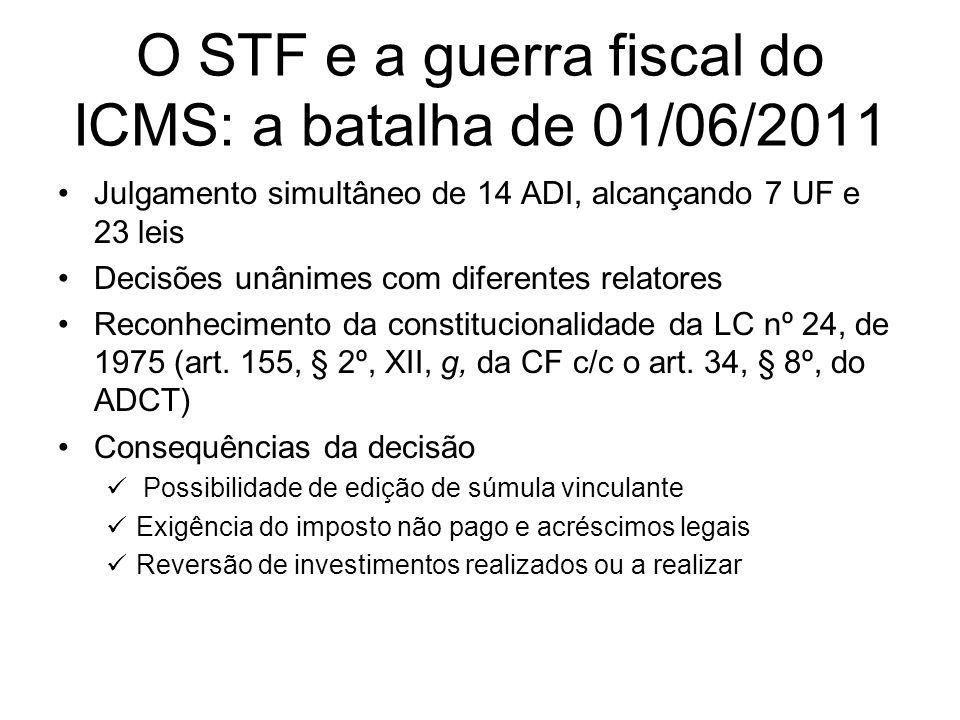 O STF e a guerra fiscal do ICMS: a batalha de 01/06/2011