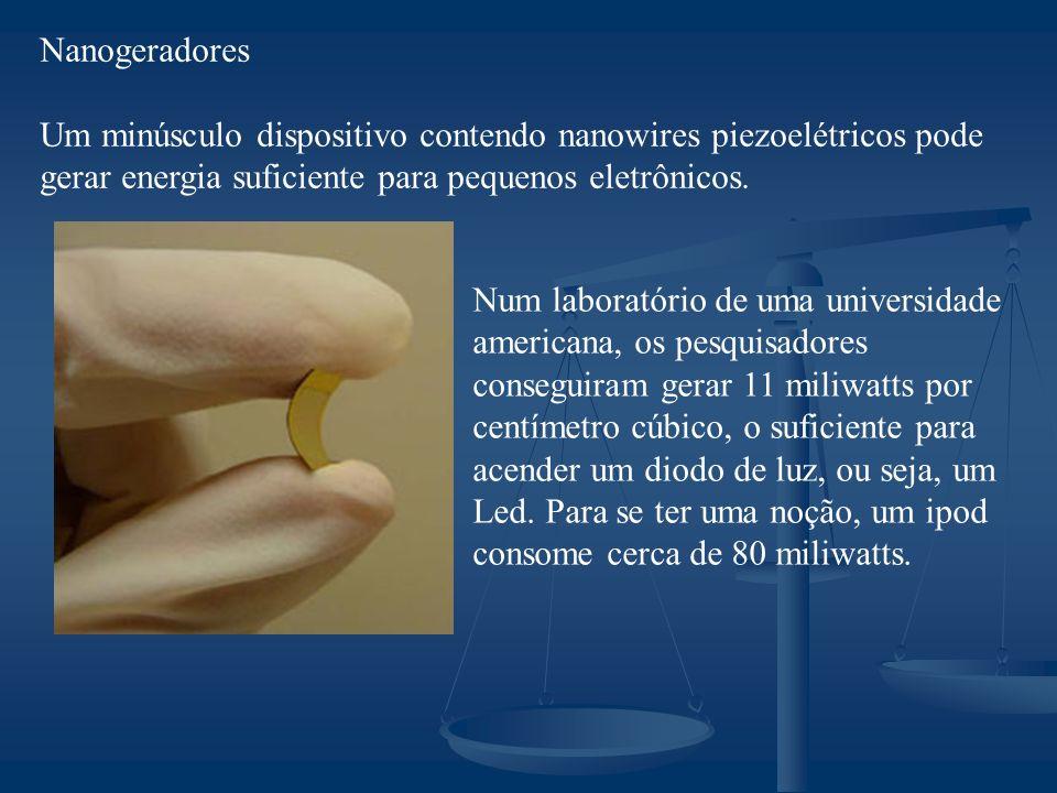 Nanogeradores Um minúsculo dispositivo contendo nanowires piezoelétricos pode gerar energia suficiente para pequenos eletrônicos.
